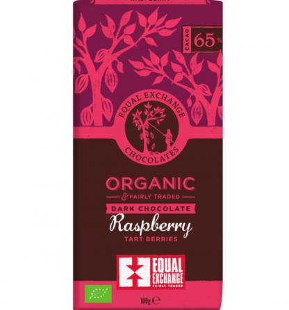 fair trade biologische donkere chocola met framboos